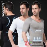 ZEROBODYS Men's Nylon Compression Body Shaper V-Neck T-Shirt
